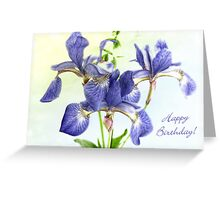 Pretty Blue Irises Birthday Card Greeting Card