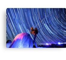 Electric Blue Star Trails Over Joshua Tree Desert Sky Canvas Print