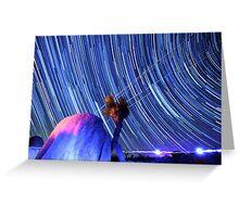 Electric Blue Star Trails Over Joshua Tree Desert Sky Greeting Card