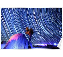 Electric Blue Star Trails Over Joshua Tree Desert Sky Poster