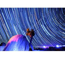 Electric Blue Star Trails Over Joshua Tree Desert Sky Photographic Print