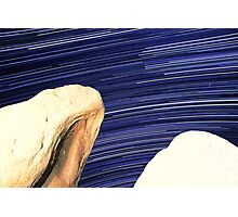 Desert Boulders With Galaxy Star Trails in Background Photographic Print