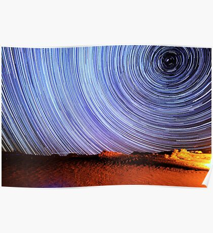 Incredible Galaxy Star Trails Over Death Valley Poster