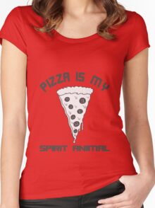 Pizza Is My Spirit Animal funny nerd geek geeky Women's Fitted Scoop T-Shirt