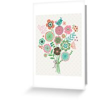 Bird bouquet pattern and print Greeting Card