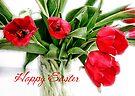 Red Tulips Happy Easter Card by LouiseK