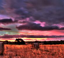 sunset over farmland by mrobertson7