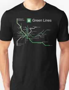 Green Lines (white) T-Shirt