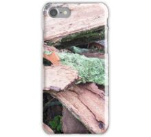 Pile of old tattered bark covered with moss iPhone Case/Skin