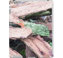 Pile of old tattered bark covered with moss iPad Case/Skin