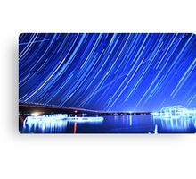 Star Trails Over Big Bear Lake  Canvas Print