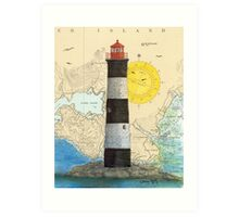 Race Rocks Lighthouse BC Canada Nautical Map Cathy Peek Art Print