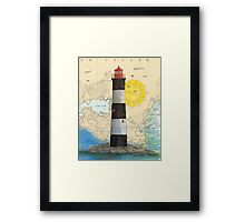 Race Rocks Lighthouse BC Canada Nautical Map Cathy Peek Framed Print