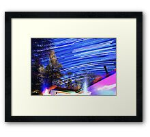 Space Star Trails Above Trees and Red Cabin  Framed Print