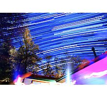 Space Star Trails Above Trees and Red Cabin  Photographic Print