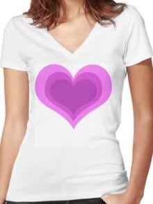 Love Heart  Women's Fitted V-Neck T-Shirt