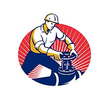 Pipefitter Turning Pipe Valve Retro by retrovectors