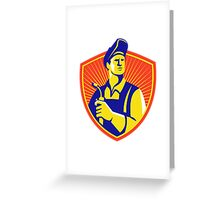 Welder With Welding Torch Shield Retro Greeting Card
