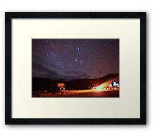 Jeep Campfire with Incredible Star Background Framed Print