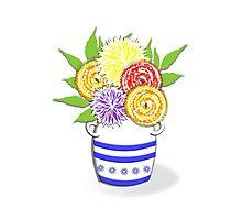 Greek Urn Vase Of Summer Flowers Photographic Print