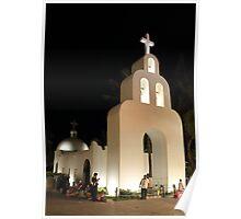 Church at Night in Playa del Carmen Poster