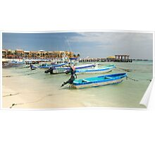 Fishing Boats in Playa Del Carmen Mexico Poster