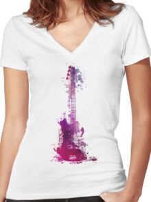 Funky purple guitar Women's Fitted V-Neck T-Shirt