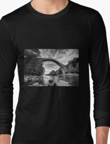 Traditional bridge in northern Greece, in bw Long Sleeve T-Shirt