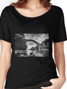 Traditional bridge in northern Greece, in bw Women's Relaxed Fit T-Shirt
