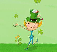 Green Shamrock Clovers & Elves with Leprechaun Hat by scottorz