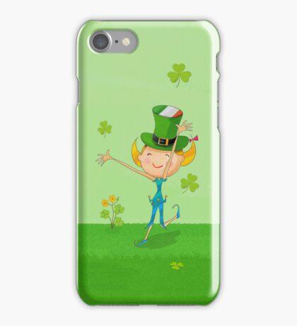 Green Shamrock Clovers & Elves with Leprechaun Hat iPhone Case/Skin
