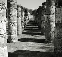 Columns in the Mayan Ruins of Chichen Itza by Roupen  Baker