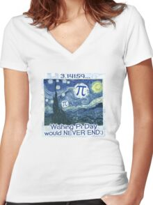 Wishing Pi Day Never Ends Women's Fitted V-Neck T-Shirt