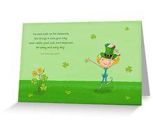 Green Shamrock Clovers & Elves with Leprechaun Hat Greeting Card