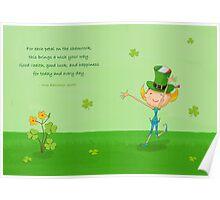 Green Shamrock Clovers & Elves with Leprechaun Hat Poster