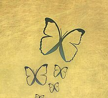 Butterflies on gold by CatchyLittleArt