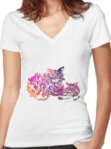 Three cats purple Women's Fitted V-Neck T-Shirt