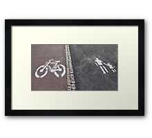 Walk and bike path Sign Framed Print