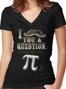 Funny Moustache Pi Day Women's Fitted V-Neck T-Shirt