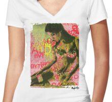 Love Bytes Ladies #9 Women's Fitted V-Neck T-Shirt