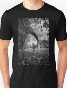 Huge stone bridge in northern Greece, in bw Unisex T-Shirt