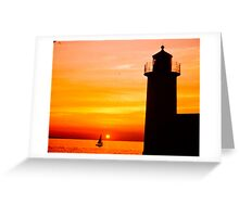 Lighthouse at sunset Greeting Card