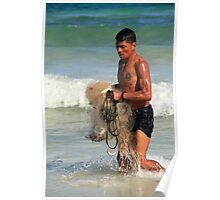 Fisherman with Catch in Tulum Poster