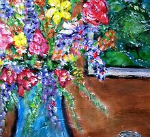Flowers with Tea Jar by couellet