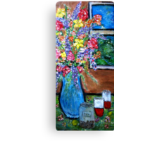 Flowers with Tea Jar Canvas Print