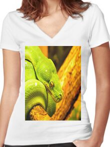 Emerald Tree Boa Women's Fitted V-Neck T-Shirt