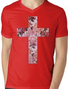 Floral Cross 3 Mens V-Neck T-Shirt