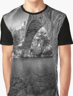 Old stone bridge in northern Greece, in bw Graphic T-Shirt