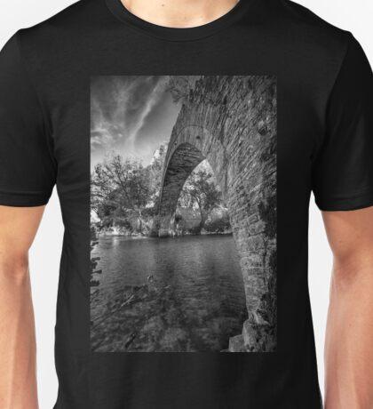 Old stone bridge in northern Greece, in bw Unisex T-Shirt