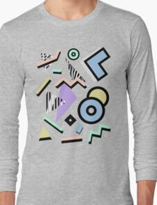 80s Pattern Vaporwave Memphis Pastel Squiggles Long Sleeve T-Shirt